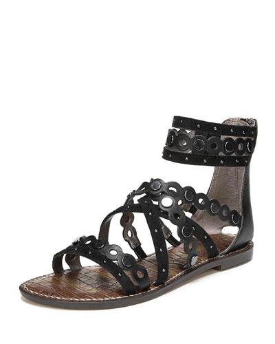Geren Modena Leather/Suede Flat Caged Sandal
