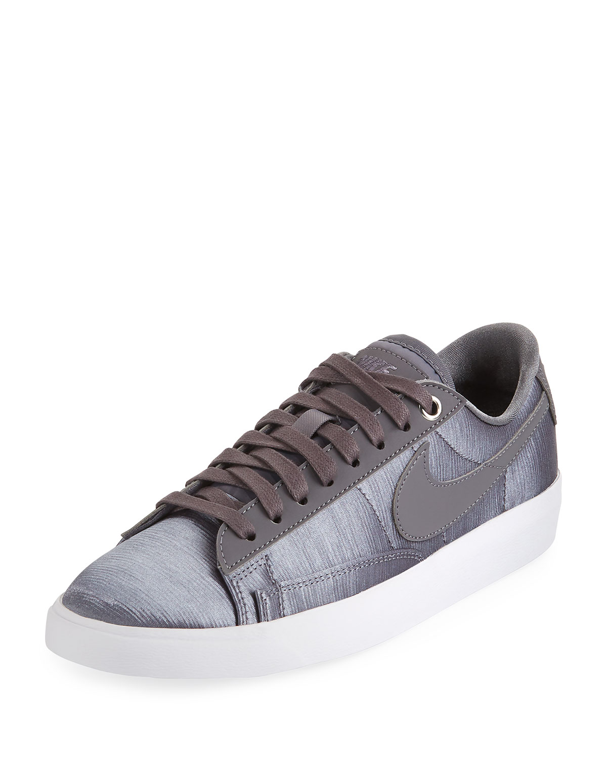 WOMEN'S BLAZER EMBOSSED SATIN & LEATHER LACE UP SNEAKERS