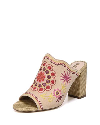 Olive Embroidered Chunky-Heel Slide Sandal
