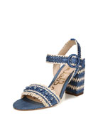 Olsa Embroidered Chunky-Heel Sandal