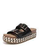 Oakley Leather Platform Espadrille Slide Sandal