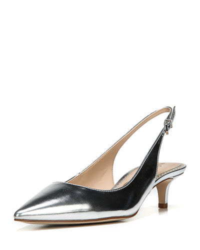 Ludlow Pointed Metallic Leather Slingback Pump
