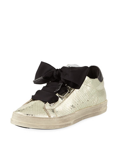 Platinum Sneaker with Ribbon Tie