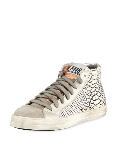 Python-Embossed High-Top Sneaker