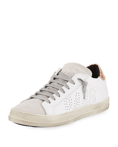 Mixed Leather Low-Top Sneaker, White/Copper