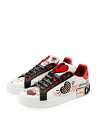 Dolce & Gabbana Leather Low-Top Sneakers with Graffiti