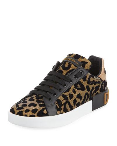Metallic Leopard-Print Low-Top Sneakers