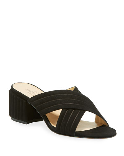 Maggy Block-Heel Suede Slide Sandal