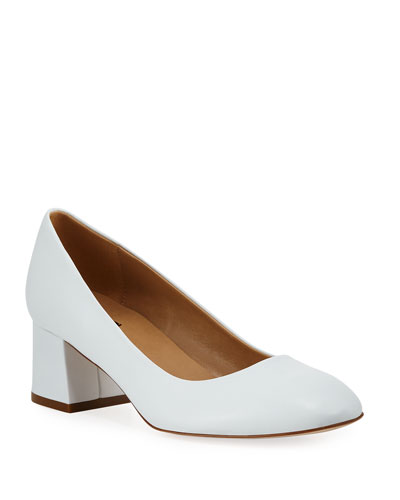 Myna Soft Napa Leather Block-Heel Pumps