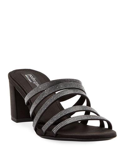 Xaki Multi-Strap Block-Heel Shimmer Slide Sandal