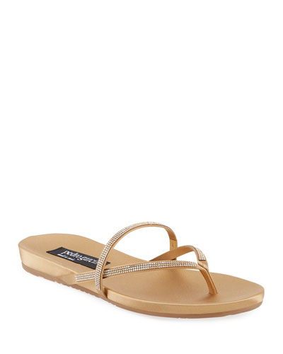 Giulia Crystal Strappy Flat Thong Slide Sandal