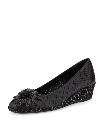 Mae Perforated Demi-Wedge Pump, Black