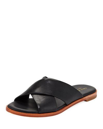 Anica Grand Crisscross Flat Slide Sandal, Black