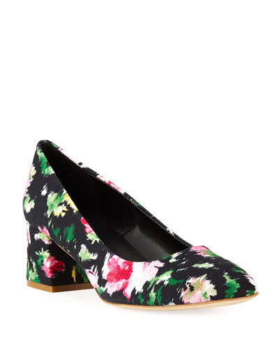 Myna Floral Fabric Block-Heel Pumps