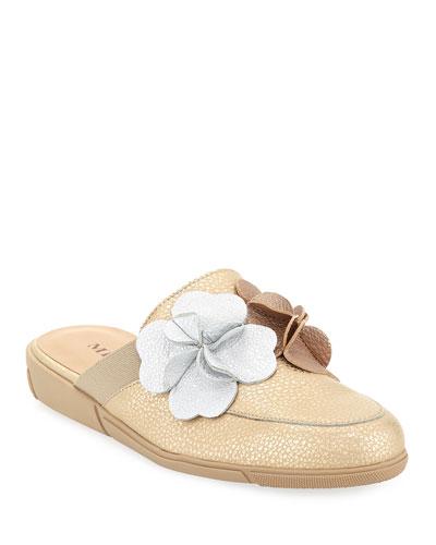Diza Floral-Embellished Soft Leather Mule Flat