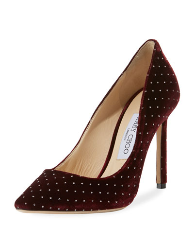 Romy 100mm Glitter Spotted Velvet Pumps