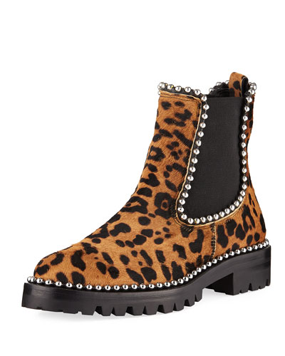 Leopard Spencer Boots with Studs