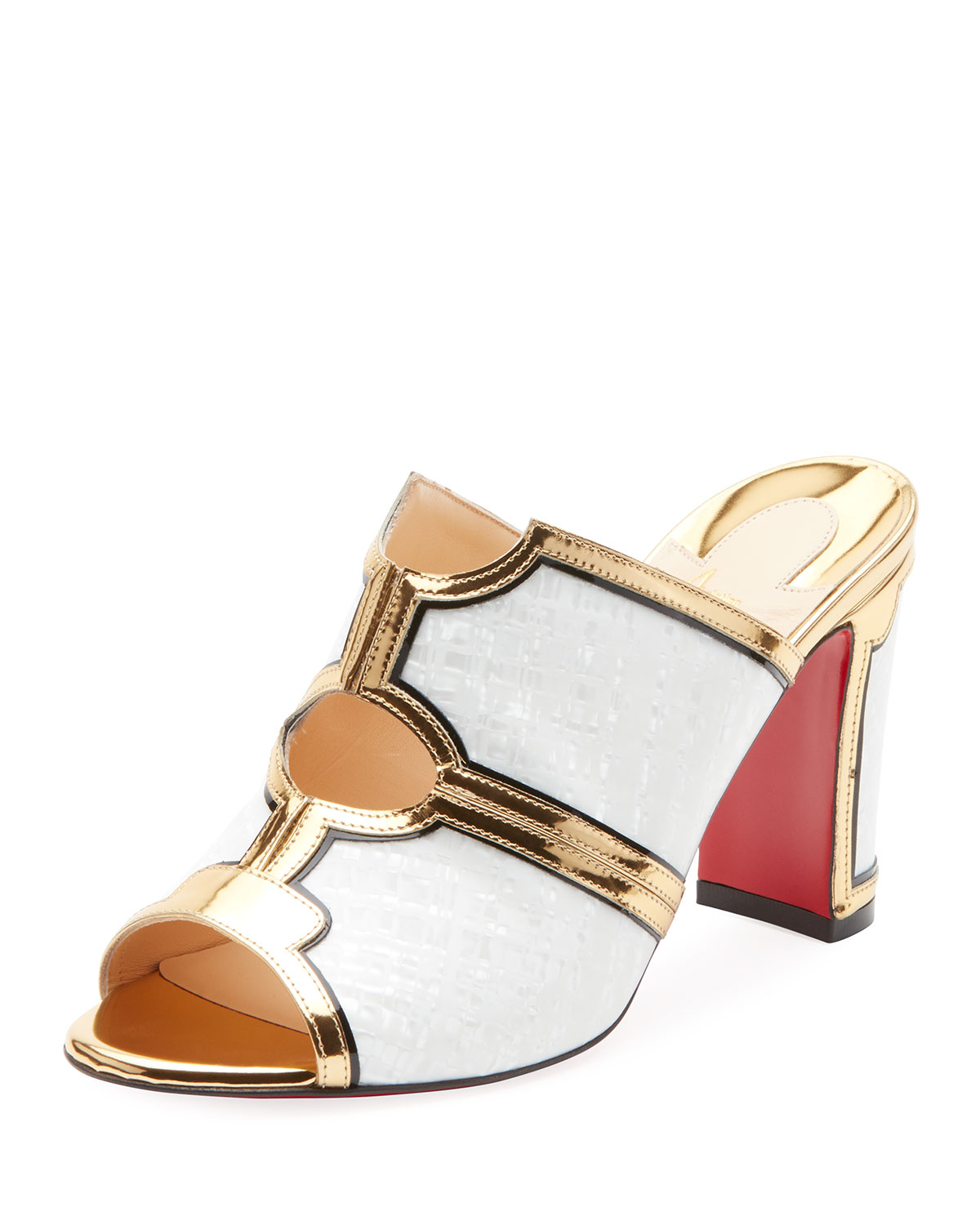 CHRISTIAN LOUBOUTIN INTERIOR TWO-TONE RED SOLE MULE SANDAL