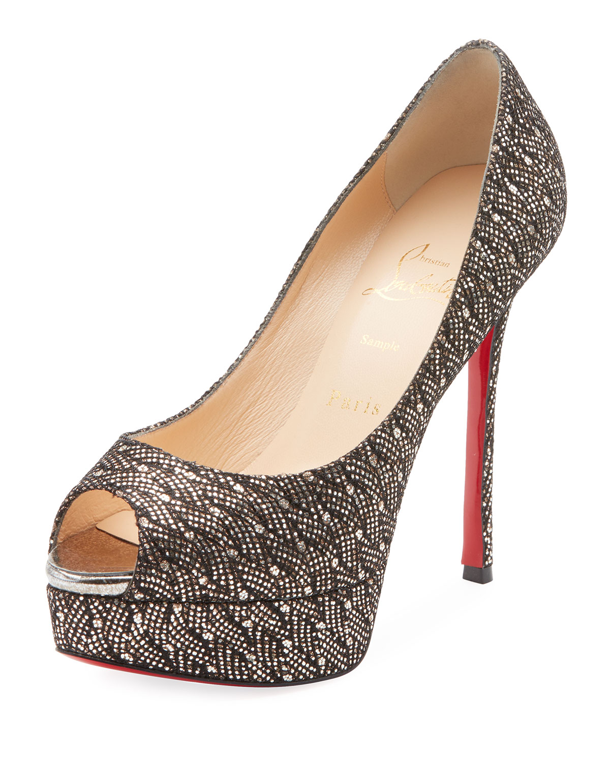 CHRISTIAN LOUBOUTIN FETISH PEEP 130MM PLATFORM GLITTERED RED SOLE PUMP