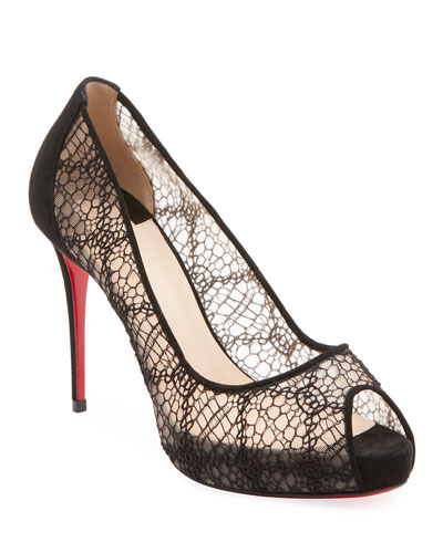a798a85657fe Quick Look. Christian Louboutin · Very Lace Peep-Toe Red Sole Pumps