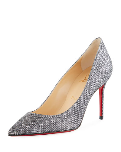 Decollete 554 Mid-Heel Metallic Fabric Red Sole Pumps
