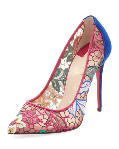 Follies Lace 100mm Embroidered Red Sole Pumps