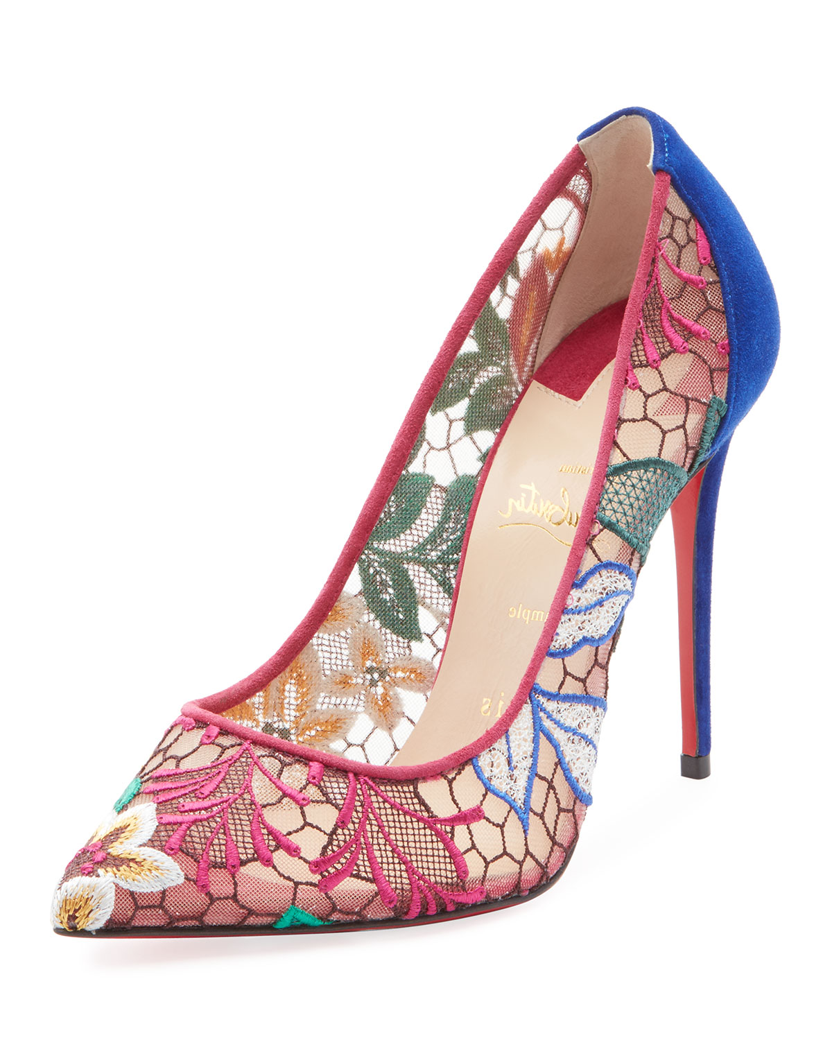 CHRISTIAN LOUBOUTIN FOLLIES LACE 100MM EMBROIDERED RED SOLE PUMP