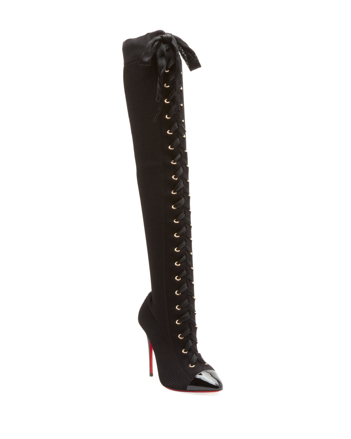 CHRISTIAN LOUBOUTIN FRENCHIE OVER-THE-KNEE RED SOLE BOOTS