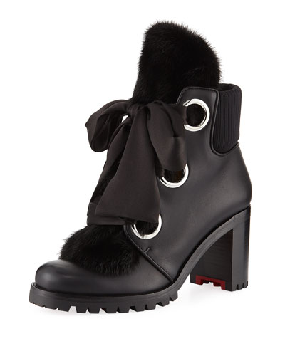 Jenny From The Alps Fur Red Sole Booties