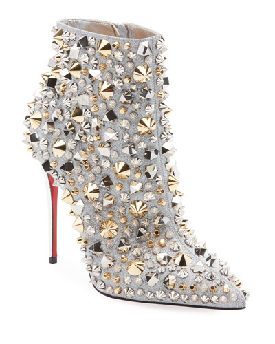 ac298da6e583 Quick Look. Christian Louboutin · So Full Kate Studded Metallic Leather Red  Sole Booties. Available in Silver