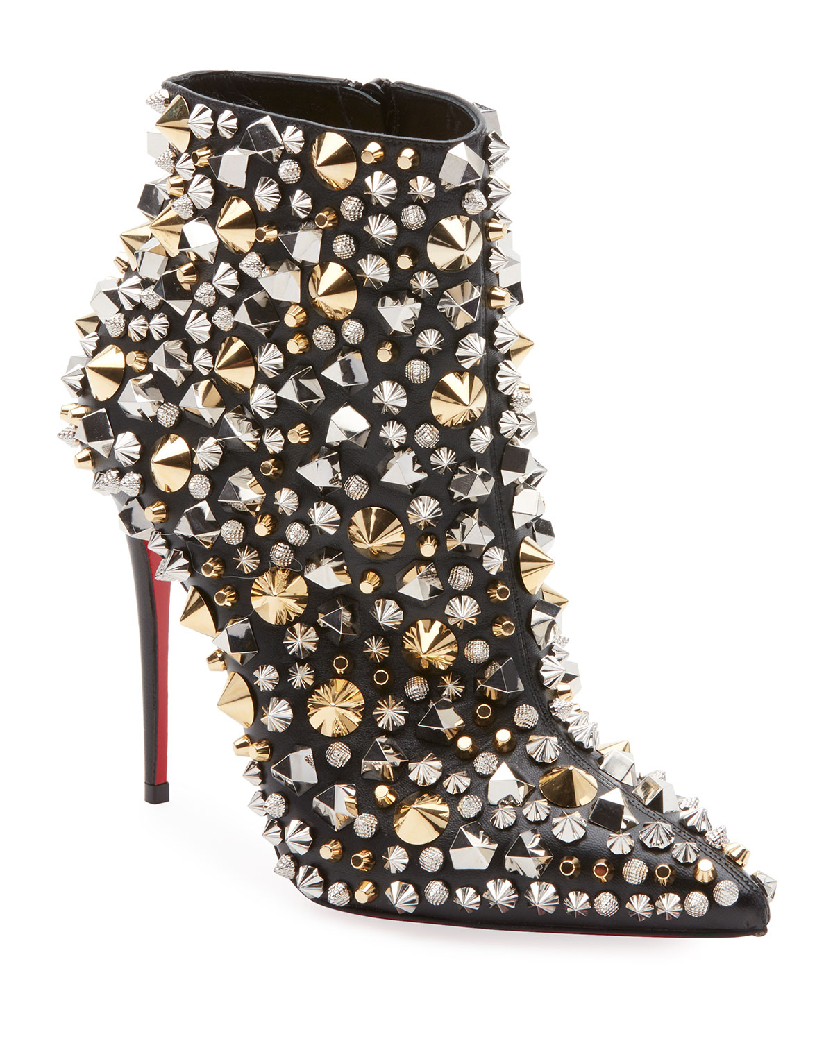 CHRISTIAN LOUBOUTIN SO FULL KATE STUDDED NAPA RED SOLE BOOTIE