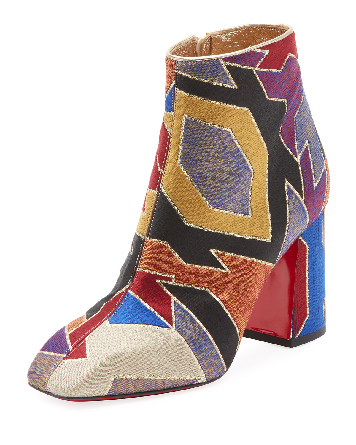 CHRISTIAN LOUBOUTIN HILCONICO GEOMETRIC SILK JACQUARD RED SOLE BOOTIE