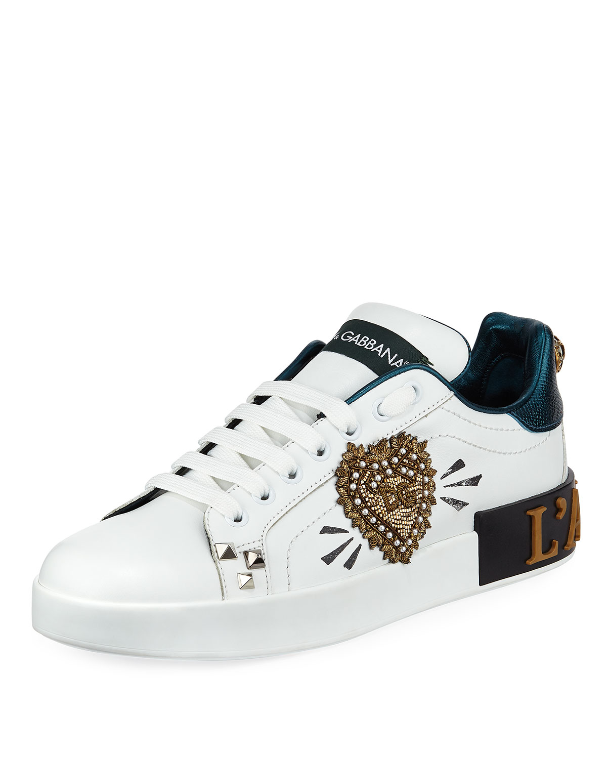 Dolce And Gabbana White And Green Dg Heart Portofino Sneakers