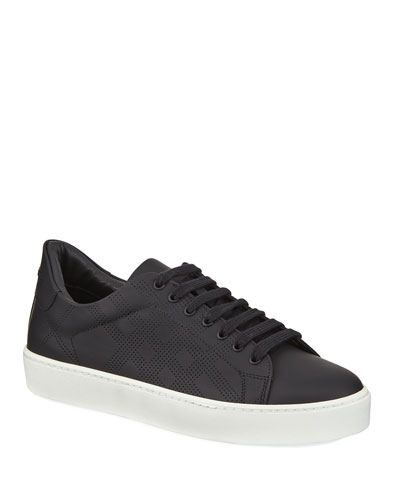 Westford Perforated Leather Low-Top Sneakers, Black