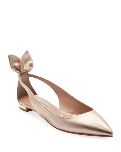Deneuve Metallic Leather Ballet Flats