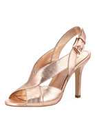 Becky Metallic Leather Crisscross Slingback Sandal