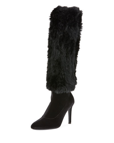 Velvet Knee Boots with Fur Trim