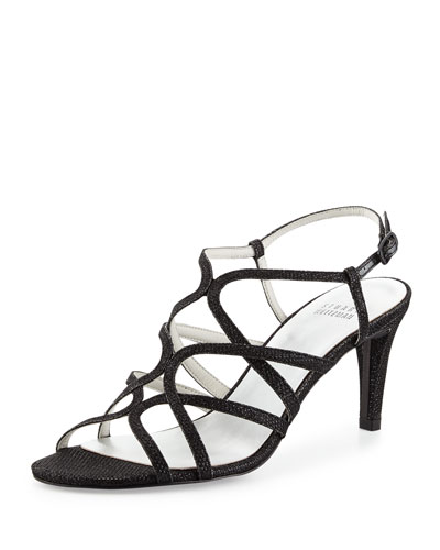 Turningup Strappy Glitter Sandal, Black