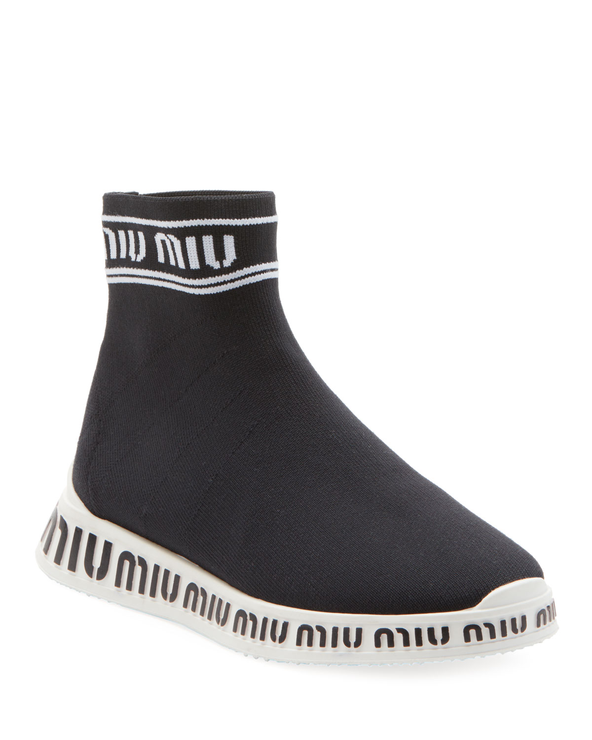 Sock Knit High-Top Trainer Sneakers