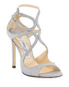 Jimmy Choo Lang 100mm Fine Glittered Leather Sandals