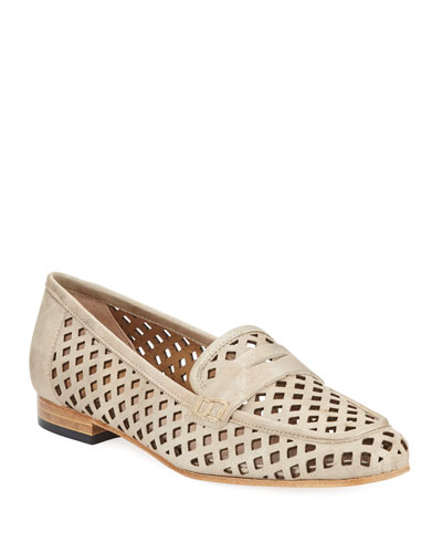 Mela Perforated Murales Metallic Leather Loafer
