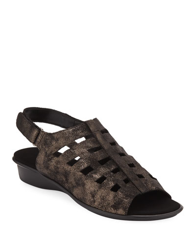 Ellia Laser-Cut Leather Comfort Sandal