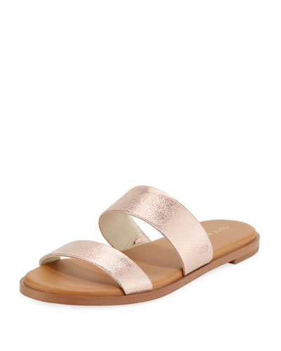 Findra Grand Flat Metallic Leather Slide Sandal