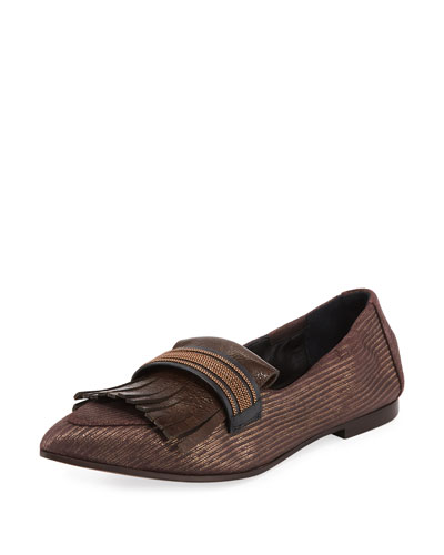Metallic Leather kiltie Loafer Flat