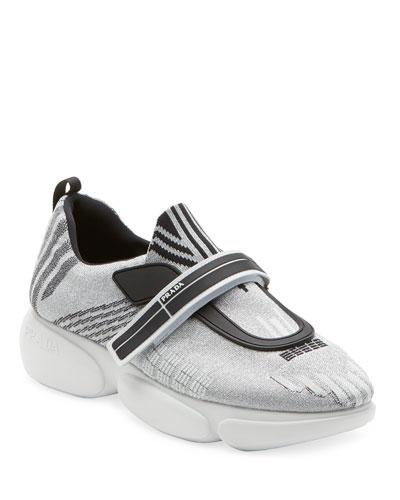 Metallic Knit Trainer Sneakers