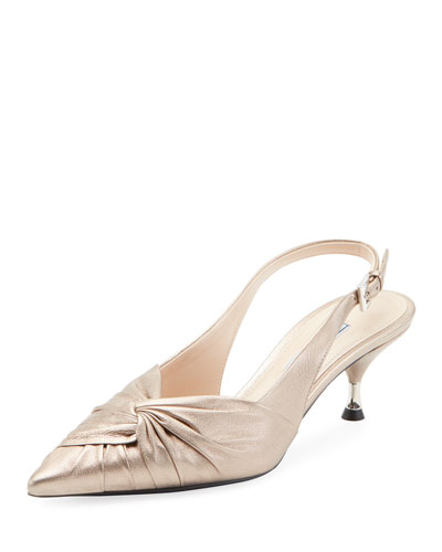 Ruched Metallic Leather Pump