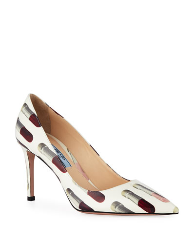 Lipstick-Print Patent Leather Pumps