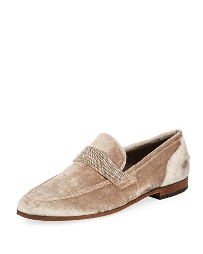 Flat Metallic Velvet Loafer