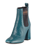 Brunello Cucinelli Block-Heel Python Sock-Gore Ankle Booties
