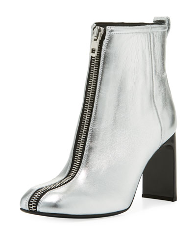 Ellis Zip-Front Ankle Boot, Silver